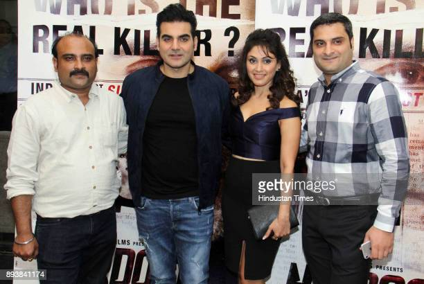 Bollywoood Director Subroto Paul Arbaaz Khan Manjari Phadnis and Director Pradeep Gangwani during the trailer launch of film 'Nirdosh' at Sunny Super...