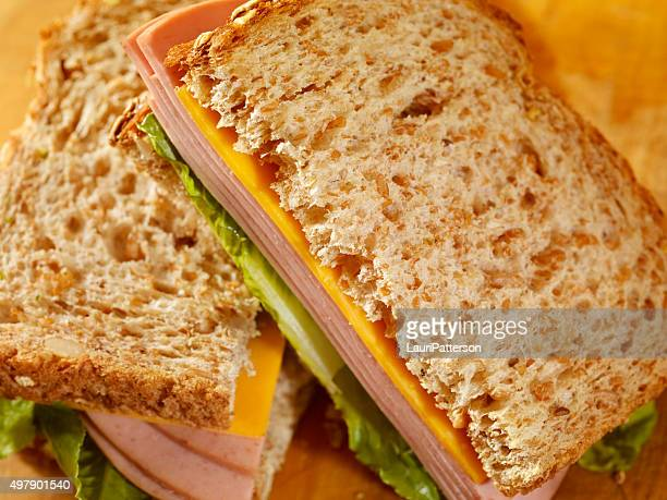 bologna and cheese sandwich - baloney stock photos and pictures