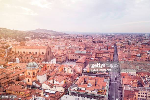 Bologna cityscape at sunset