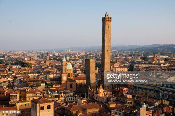 bologna, cityscape from above, view of garisenda and asinelli tower - bologna stock pictures, royalty-free photos & images