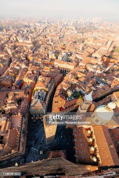 Bologna, cityscape from above, view of Garisenda tower