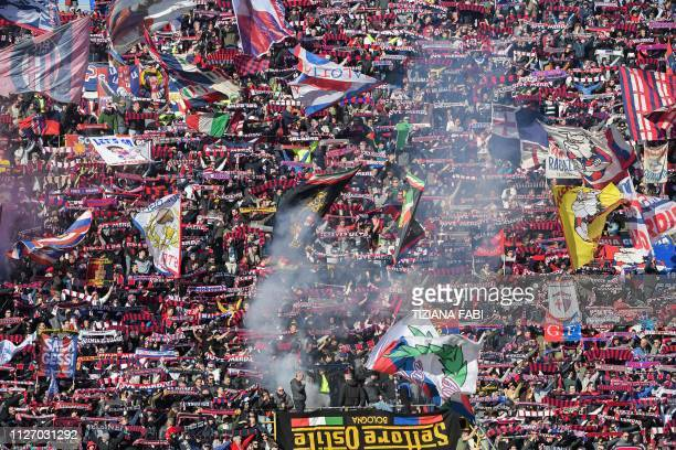 Bologna fans cheer the Italian Serie A football match Bologna vs Juventus on February 24 2019 at the RenatoDall'Ara stadium in Bologna