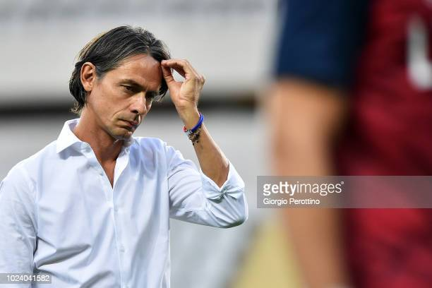 Bologna FC coach Filippo Inzaghi looks on during the serie A match between Frosinone Calcio and Bologna FC at Olimpico Stadium on August 26 2018 in...