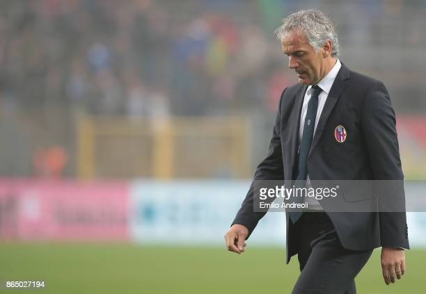 Bologna FC coach Roberto Donadoni shows his dejection at the end of the Serie A match between Atalanta BC and Bologna FC at Stadio Atleti Azzurri...