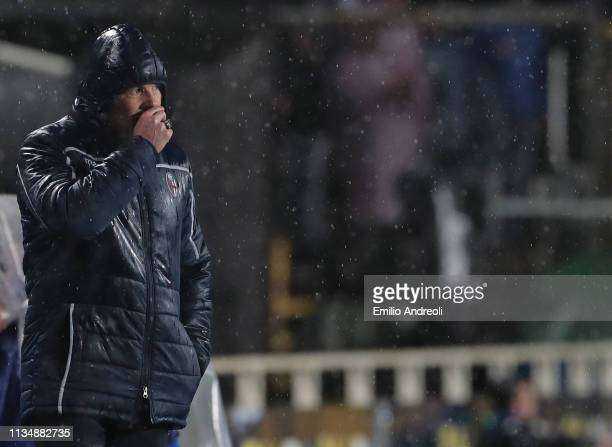 Bologna FC coach Sinisa Mihajlovic looks dejected during the Serie A match between Atalanta BC and Bologna FC at Stadio Atleti Azzurri d'Italia on...