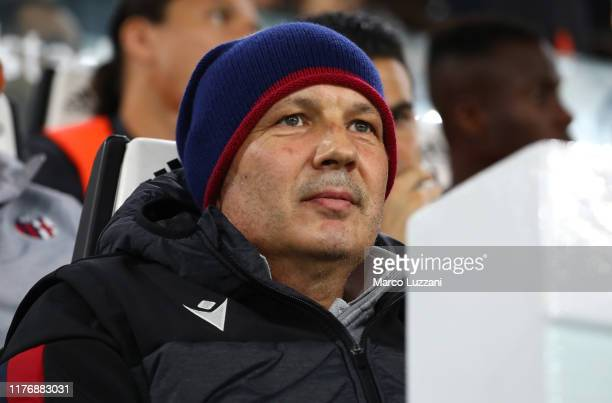 Bologna FC coach Sinisa Mihajlovic looks on before the Serie A match between Juventus and Bologna FC at Allianz Stadium on October 19 2019 in Turin...
