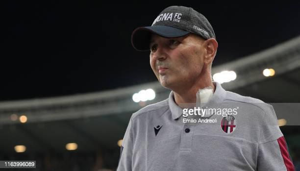 Bologna FC coach Sinisa Mihajlovic looks on during the Serie A match between Hellas Verona and Bologna FC at Stadio Marcantonio Bentegodi on August...