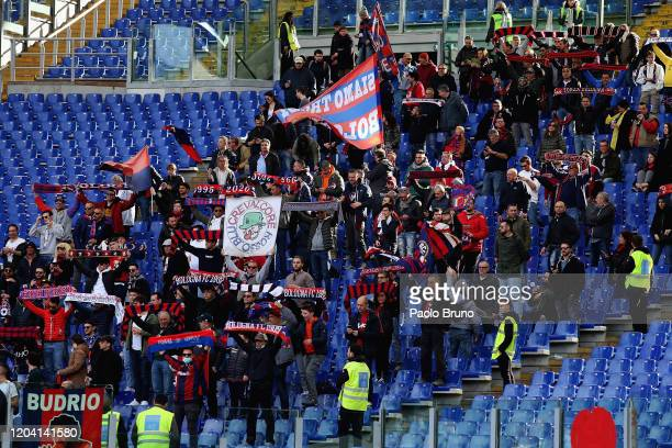 Bologna FC fans during the Serie A match between SS Lazio and Bologna FC at Stadio Olimpico on February 29 2020 in Rome Italy