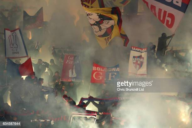 Bologna FC fans support their team during the Serie A match between Bologna FC and AC Milan at Stadio Renato Dall'Ara on February 8, 2017 in Bologna,...