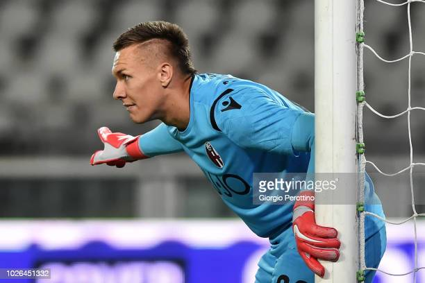 Bologna FC goalkeeper Lukasz Skorupski reacts during the serie A match between Frosinone Calcio and Bologna FC at Olimpico Stadium on August 26 2018...