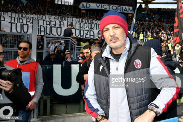 Bologna FC head coach Sinisa Mihajlovic greet SS Lazio fans before the Serie A match between SS Lazio and Bologna FC at Stadio Olimpico on February...