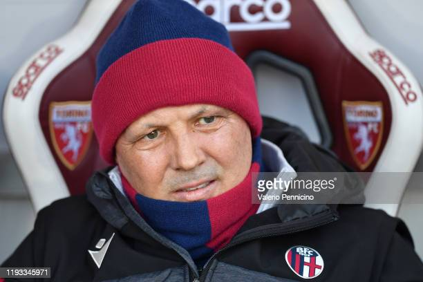 Bologna FC head coach Sinisa Mihajlovic looks on during the Serie A match between Torino FC and Bologna FC at Stadio Olimpico di Torino on January 12...