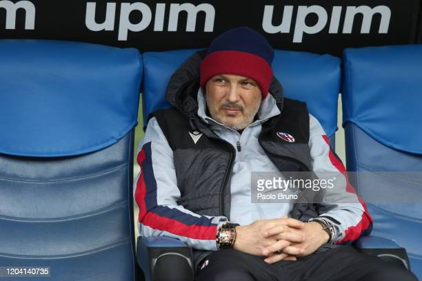 Bologna FC head coach Sinisa Mihajlovic looks on during the Serie A match between SS Lazio and Bologna FC at Stadio Olimpico on February 29 2020 in...