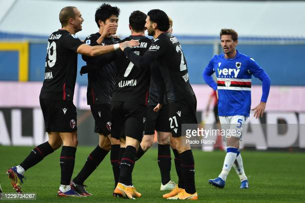 Bologna FC players celebrate after scoring Riccardo Orsolini 11 during the Serie A match between UC Sampdoria and Bologna FC at Stadio Luigi Ferraris...
