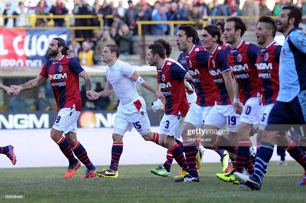 Bologna FC players celebrate victory after the Serie A match between Bologna FC and Cagliari Calcio at Stadio Renato Dall'Ara on March 3, 2013 in Bologna, Italy.