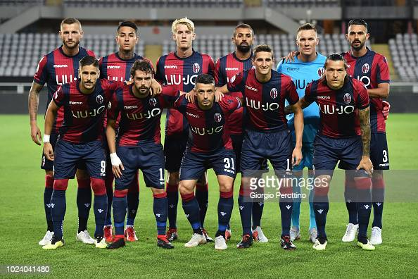 Bologna FC team is seen prior to the serie A match between ...