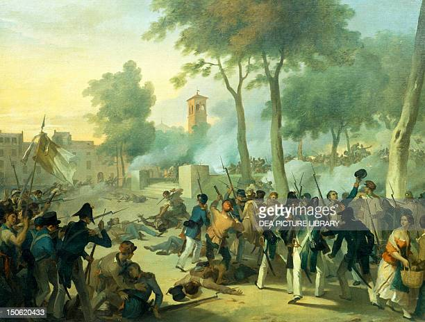 Bologna fighting in Montagnola August 8 by Napoleone Angiolini ca 1850 First war of independence Italy 19th century