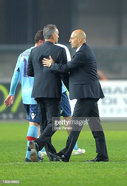 Bologna head coach Stefano Pioli and Chievo head coach Domenico Di Carlo after the Serie A match between AC Chievo Verona and Bologna FC at Stadio...