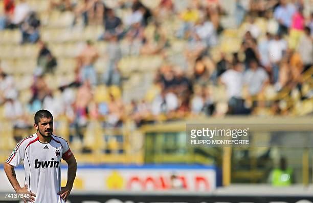 Milan's midfielder Gennaro Gattuso looks on during Italian serie A football match against Catania at neutral ground of Bologna's Renato Dall'Ara...