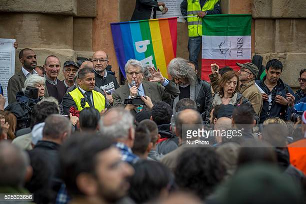 Bologna, Italy - May, 16 2015 : Luigi Manconi speak during people march in the national demonstration against the risk of a new Holocaust and...