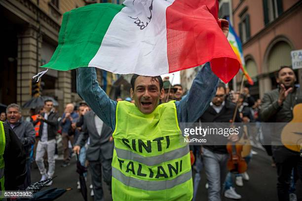 Roma Sinti and Gypsies people march in the national demonstration against the risk of a new Holocaust and discrimination of nomad people in Italy 71...