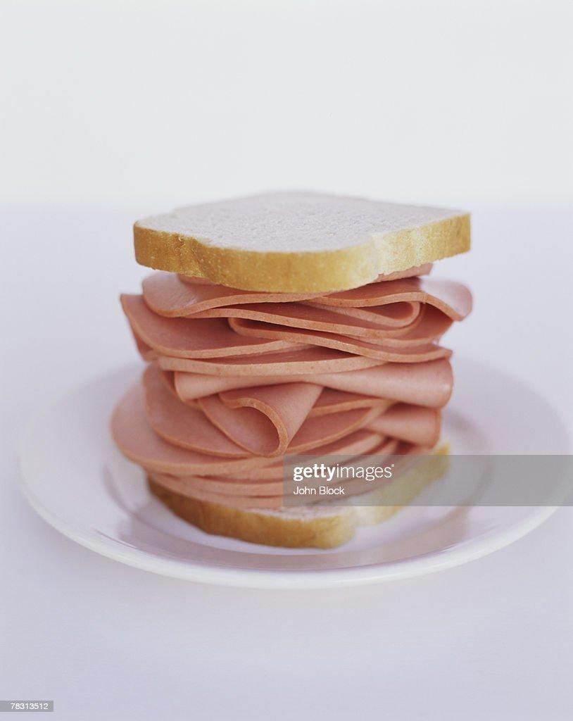 Bologna on White Bread : Stock Photo