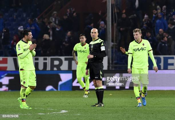Bologna players disappointment during the Serie A match between UC Sampdoria andv Bologna FC at Stadio Luigi Ferraris on February 12 2017 in Genoa...
