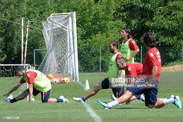 Bologna players stretch during a Bologna FC training session at Casteldebole on May 10 2011 in Bologna Italy