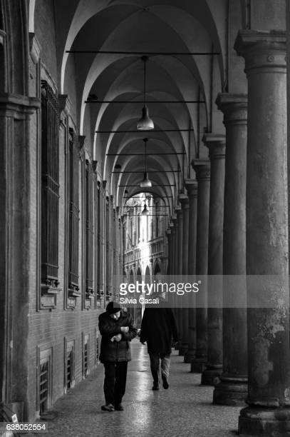 bologna porch with passenger - silvia casali stock pictures, royalty-free photos & images