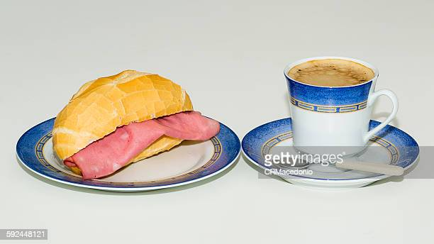 bologna sandwich and a cup of coffee - crmacedonio stock pictures, royalty-free photos & images