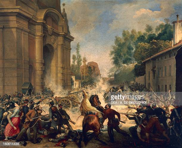 Bologna the expulsion of the Austrians from Porta Galliera August 8 by Antonio Muzzi First War of Independence Italy 19th century
