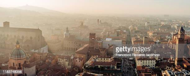 bologna, via indipendenza as seen from above a city tower. - bologna stock pictures, royalty-free photos & images