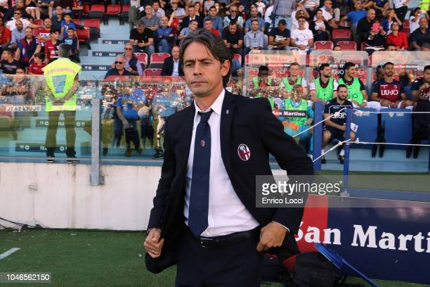 Bologna's coach Filippo Inzaghi looks on during the Serie A match between Cagliari and Bologna FC at Sardegna Arena on October 6 2018 in Cagliari...