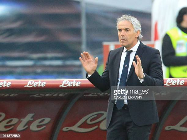 Bologna's Italian coach Roberto Donadoni gestures during the Italian Serie A football match SSC Napoli vs Bologna FC on January 28 2018 at the San...