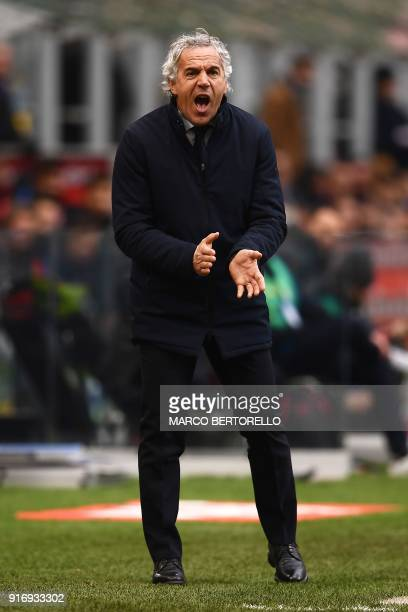 Bologna's Italian coach Roberto Donadoni reacts during the Italian Serie A football match Inter Milan versus Bologna on February 11 2018 at the San...