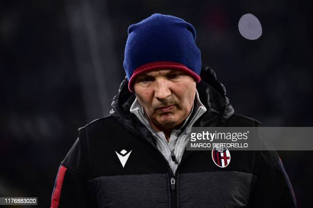 Bologna's Serbian head coach Sinisa Mihajlovic attends the Italian Serie A football match Juventus vs Bologna on October 19 2019 at the Juventus...