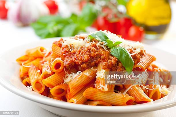 bolognese pens - pasta stock pictures, royalty-free photos & images