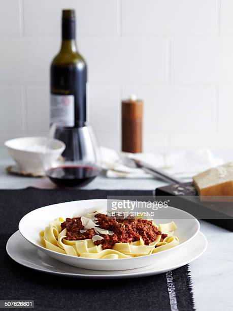 Bolognese ragu with tagliatelle and red wine