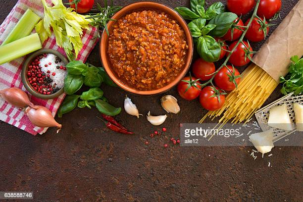 Bolognese Sauce With Ingredients.