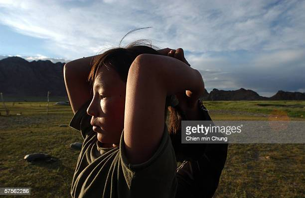 Bolor practicing her stretching on July 6 2005 in Khovd Mongolia