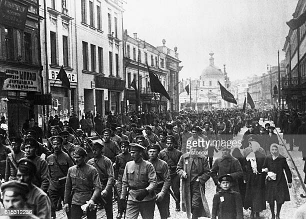 Bolshevik soldiers marching through the streets of Moscow ca 1917