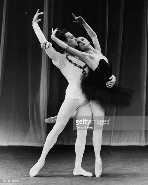 Bolshoi Ballet dancers Elena Ryabinkina and Maris Liepa rehearsing a scene from 'Swan Lake' at Royal Festival Hall London July 15th 1965