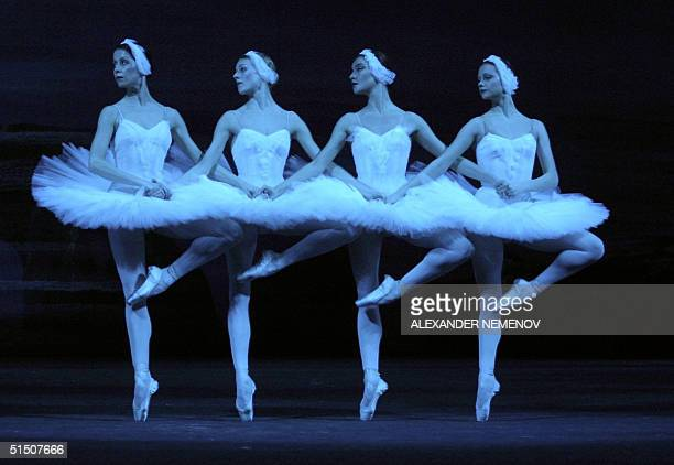 Bolshoi ballet dancers perform the dance of small swans during the rehearsal of the new version of Pyotr Chaikovsky's 'Swans' Lake' ballet in Bolshoi...