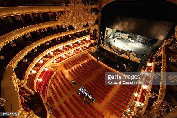 Bolshoi Theatre is seen during a media tour on October 2011 in Moscow Russia The restored Moscow landmark built in 1820s is due to reopen after...