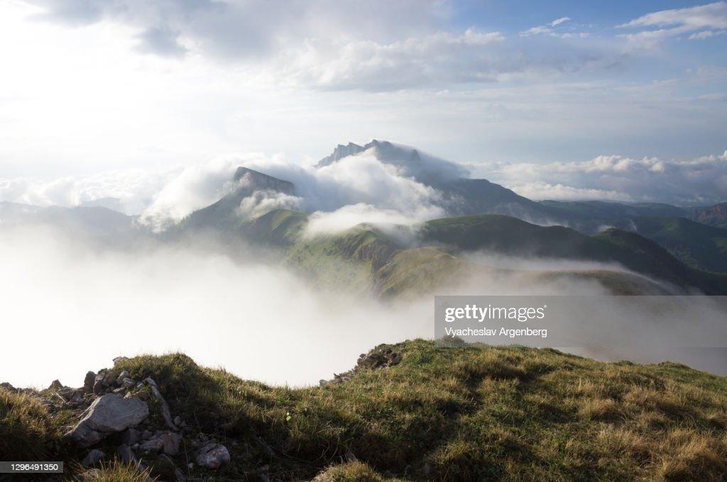 Bolshoy Tkhach in clouds, mountain landscape, Adygea : Stock Photo
