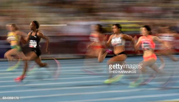 TOPSHOT Bolt All Stars team member Natasha Morrison of Jamaica competes in the Women's 100 metres during the Nitro Athletics meet in Melbourne on...