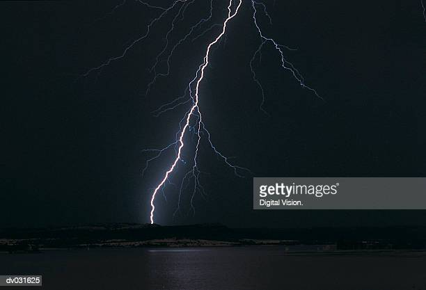 Bolt of lightning in a midnight sky, South Africa