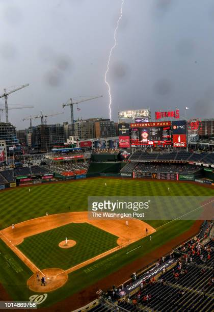 A bolt of lightning strikes beyond the centerfield wall in the ninth inning as the Washington Nationals beat the Atlanta Braves 83