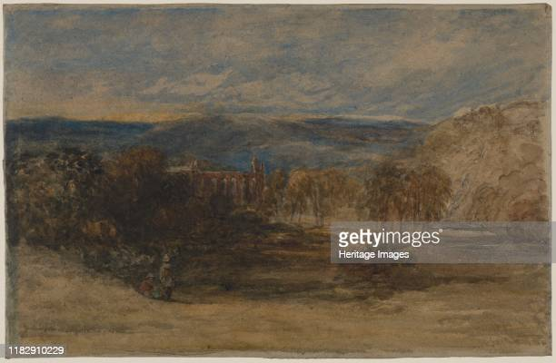 Bolton Abbey c late 1840s1857 This moody broadly painted watercolour on rough brown paper is emblematic of Coxs late style Velvety grays and greens...