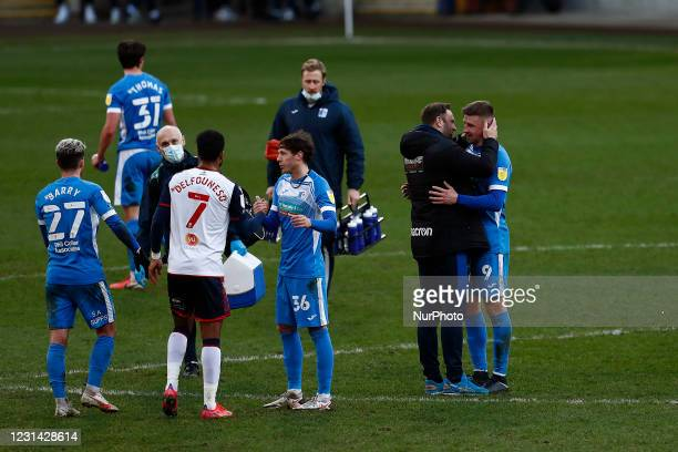 Bolton boss Ian Evatt at full time during the Sky Bet League 2 match between Bolton Wanderers and Barrow at the Reebok Stadium, Bolton on Saturday...